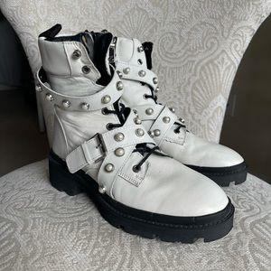 Zara White Leather Combat Boots